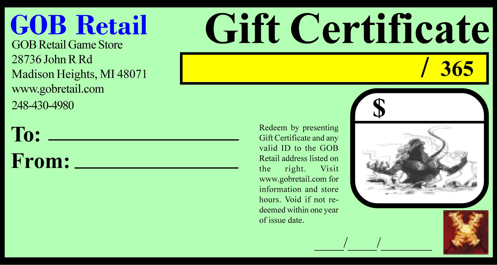 Gob Retail Gift Certificates
